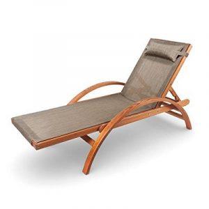 Ampel 24, Chaise longue de jardin CARIBIC   199x75cm   en bois de mélèze   dossier ajustable   avec coussin de la marque Ampel 24 image 0 produit