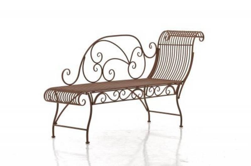 CLP Banquette de jardin KARMA avec récamière droite en fer forgé, style  romantique, environ 160 x 46 cm, bain-soleil stable marron antique de la  marque CLP 226589a1e3e0