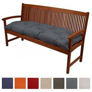 Beautissu Coussin pour banc de jardin Flair BK terrasse, balcon - balancelle - Banquette - Assise confortable - 150x50x10cm - Graphite Gris de la marque Beautissu image 0 produit