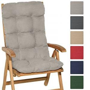 Beautissu Matelas Coussin pour chaise fauteuil de jardin terrasse Flair HL 120x50x8cm - Dossier haut - Gris clair de la marque Beautissu image 0 produit
