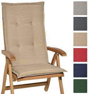 Beautissu Matelas Coussin pour chaise fauteuil de jardin terrasse Loft HL 120x50x6cm - dossier haut - Nature de la marque Beautissu image 0 produit