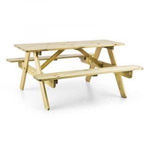 Blumfeldt Table de pique-nique (banc meuble jardin pour enfants, résistant aux intempéries grâce à son traitement autoclave, epaisseur de 2 cm) - bois de la marque Blumfeldt image 0 produit
