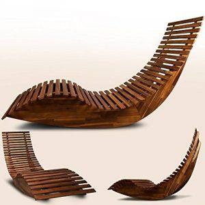 Chaise longue à bascule en bois - Transat ergonomique - Jardin/plage/terrasse - Bain de soleil - Relax de la marque DEUBA image 0 produit