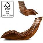 Chaise longue à bascule en bois - Transat ergonomique - Jardin/plage/terrasse - Bain de soleil - Relax de la marque DEUBA image 1 produit