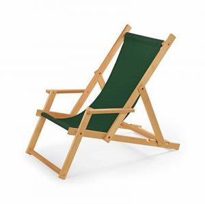 Chaise longue de jardin en bois Transat Chaise longue relax Plage chaise longue avec accoudoirs vert de la marque IMPWOOD image 0 produit