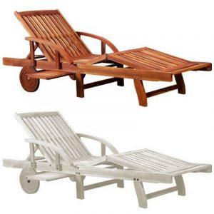 Chaise longue Tami Sun en bois d'acacia 200cm - transat bain de soleil de la marque Deuba image 0 produit