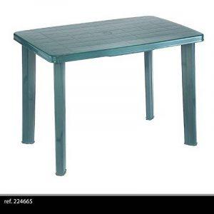 couleur verte: TABLE DE JARDIN DÉMONTABLE EN PLASTIQUE POUR CAMPING OU REPAS EN EXTERIEUR GRISE 100X70 EMPLACEMENT PARASOL de la marque OUTDECO image 0 produit