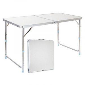 Finether Table de Jardin Pliant Portable en Aluminium Réglable en Hauteur avec Parasol Trou Multi-Usage Intérieur Extérieur Activité Pique-nique Table Camping 55 Lb Capacité 47.2 par 23.6 Pouces Dessus de Table de la marque Finether image 0 produit