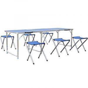 HOMFA Table de Camping Portable Table Buffet Traiteur Pliante en Hauteur Réglable Table de Pique-nique (1.8M (Avec 6 Chaises), Bleu) de la marque Homfa image 0 produit
