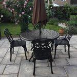 Lazy Susan - Table ronde 120 cm ALICE et 4 chaises de jardin - Salon de jardin en aluminium moulé, coloris Bronze ancien (chaises APRIL) de la marque Lazy Susan image 5 produit