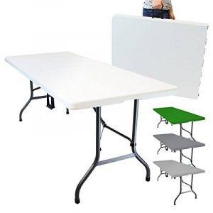 Linxor France ® Table de camping pliable avec poignée (L) 184 x (l) 76 x (H) 74 cm - 4 coloris - Norme CE - Blanc de la marque Linxor image 0 produit