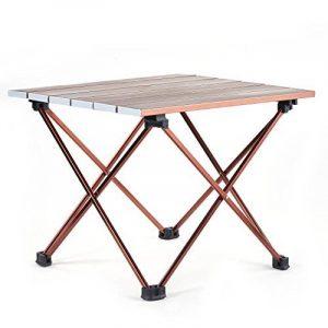 Movaty Table de camping pliant léger avec dessus de table en aluminium, General multi-usages Table Roll Up 2Taille avec sac de transport pour pique-nique, camping, plage, Bronze, grande de la marque Movaty image 0 produit
