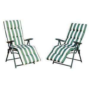 Outsunny Lot de 2 Chaises Longues Pliantes de Jardin Bain de Soleil Transat Pliant Position Réglable Acier Vert et Blanc de la marque Outsunny image 0 produit