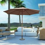 Outsunny Parasol Rond de Jardin Balcon Terrasse Bois de Bambou 8 entretoises Φ3 x 2.5m Café de la marque Outsunny image 2 produit