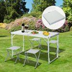 Outsunny Table de Camping Pique-Nique Portable Pliante Hauteur Réglable 4 Tabourets Alu 120L x 60l x 70Hcm Blanc Neuf 02 de la marque Outsunny image 1 produit