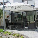 PARAMONDO Parapenda parasol à mât excentré| Parasol déporté pour jardin| 4x3m (rectangulaire / gris) / compris l'armature et le pied forant(anthracite) de la marque Paramondo image 3 produit