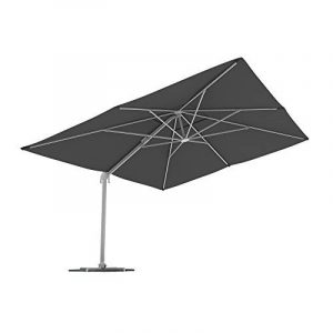 PARAMONDO Parapenda parasol à mât excentré  Parasol déporté pour jardin  4x3m (rectangulaire / gris) / compris l'armature et le pied forant(anthracite) de la marque Paramondo image 0 produit