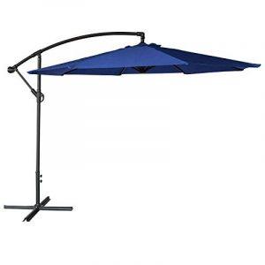 Parasol déporté OAHU rond 3m de diamètre bleu - mât gris de la marque Happy Garden image 0 produit