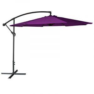 Parasol déporté OAHU rond 3m de diamètre violet - mât gris de la marque Happy Garden image 0 produit