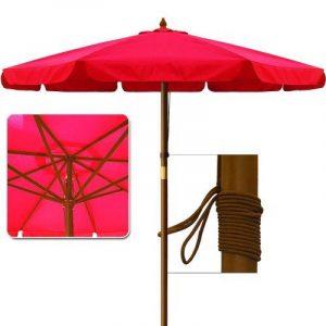 Parasol en bois Ø 350cm Jardin Extérieur Système à corde 100% Polyester - Rouge de la marque Deuba image 0 produit