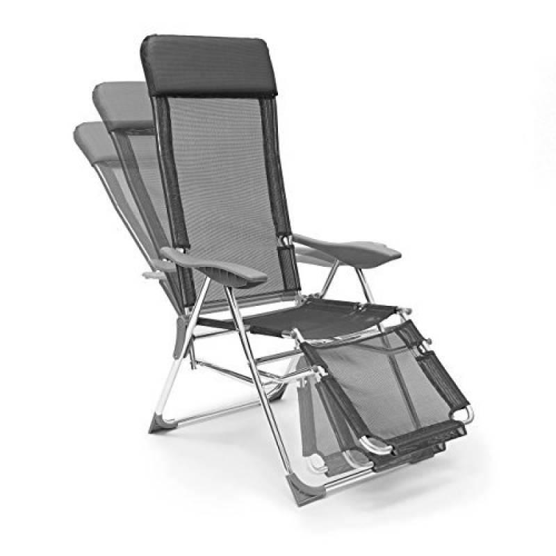 9be4c498f1c02b Relaxdays 10020082 Chaise longue de camping pliante pliable transat plage  soleil mer piscine accoudoirs et appuie-tête amovibles 3 positions  réglables, ...