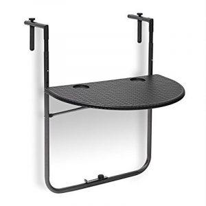 Relaxdays Table de balcon pliante pliable appoint table suspendue rabattable BASTIAN rotin hauteur réglable l x P: 60 x 40 cm, noir de la marque Relaxdays image 0 produit