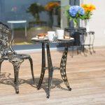 Relaxdays Table de jardin bistrot café terrasse vintage meuble terrasse extérieur style ancien H x l x P 64 x 50 x 50 cm en aluminium imprimé fleurs, bronze de la marque Relaxdays image 1 produit