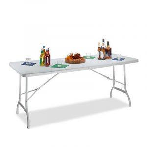 Relaxdays Table de jardin pliable BASTIAN optique rotin grande table pliante poignées camping pique-nique HxlxP: 72 x 178 x 74 cm, blanc de la marque Relaxdays image 0 produit