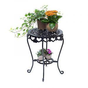 Relaxdays Tabouret plantes fleurs fonte support table appoint ronde 51 x 40 x 40 cm table fleurs plantes, noir de la marque Relaxdays image 0 produit