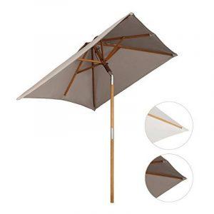 Sekey® 200 × 150 cm Parasol en bois inclinable pour patio jardin balcon piscine plage rectangulaire Beige / Taupe Sunscreen UV50+ de la marque Sekey image 0 produit
