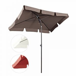 Sekey 200x125cm Parasol Patio Jardin Balcon Piscine Plage Sunscreen UV50+ Brun Rectangle de la marque Sekey image 0 produit
