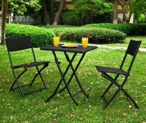 SoBuy® OGT02 - Lot de 1 table 2 chaises pliables Meuble bistrot bar terrasse balcon rotin tressé Noir de la marque SoBuy image 0 produit