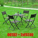 SoBuy® OGT02 - Lot de 1 table 2 chaises pliables Meuble bistrot bar terrasse balcon rotin tressé Noir de la marque SoBuy image 6 produit