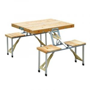 TABLE DE CAMPING JARDIN PIQUE-NIQUE PLIANTE EN BOIS AVEC 4 SIÈGES NEUF 04 de la marque Homcom image 0 produit