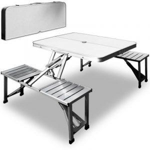 Table de pique-nique portable - Aluminium avec fonction malette - Emplacement pour parasol de la marque Deuba image 0 produit