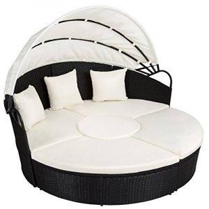TecTake Canapé de jardin chaise longue bain de soleil en aluminium et poly rotin avec toit dépliable | largeur: env. 178cm | diverses couleurs au choix (noir | no. 402198) de la marque TecTake image 0 produit