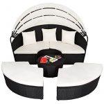 TecTake Canapé de jardin chaise longue bain de soleil en aluminium et poly rotin avec toit dépliable | largeur: env. 178cm | diverses couleurs au choix (noir | no. 402198) de la marque TecTake image 1 produit
