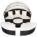 TecTake Canapé de jardin chaise longue bain de soleil en aluminium et poly rotin avec toit dépliable | largeur: env. 178cm | diverses couleurs au choix (noir | no. 402198) de la marque TecTake image 4 produit