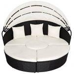 TecTake Canapé de jardin chaise longue bain de soleil en aluminium et poly rotin avec toit dépliable | largeur: env. 178cm | diverses couleurs au choix (noir | no. 402198) de la marque TecTake image 6 produit
