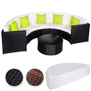 TecTake Ensemble Salon de Jardin demi cercle Poly Rotin Aluminium avec Table incl. Housse de Protection - diverses couleurs au choix - (Noir | No. 402034) de la marque TecTake image 0 produit