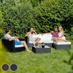 TecTake Ensemble Salon de jardin Résine Tressée Poly Rotin Aluminium noir de la marque TecTake image 1 produit