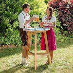 TecTake Table haute de bar restaurant jardin en bois massif pliable bistro pliante Ø78cm de la marque TecTake image 1 produit