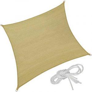 TecTake Voile d'ombrage protection UV solaire toile tendue parasol avec câbles de tension carré   4 x 4 m de la marque TecTake image 0 produit