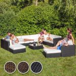 TecTake XXL Aluminium Salon de Jardin Résine Tressée aspect rotin incl. pinces noir de la marque TecTake image 1 produit