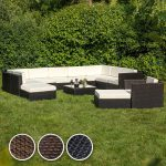TecTake XXL Aluminium Salon de Jardin Résine Tressée aspect rotin incl. pinces noir de la marque TecTake image 2 produit