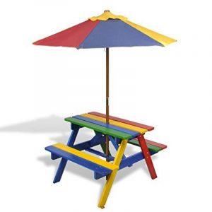 vidaXL Table de pique-nique enfant en quatre couleurs avec parasol de la marque vidaXL image 0 produit